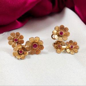 FOSSIL Three Flower Copper & Ruby Earrings